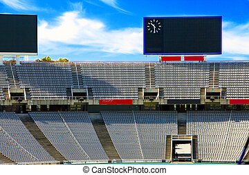 Barcelona. Olympic stadium. Board above empty tribunes.