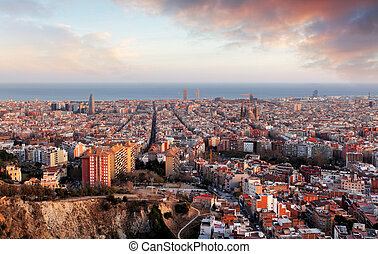 Barcelona panorama at sunset