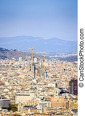 Barcelona panorama with Sagrada Familia, Spain