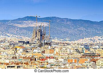 Barcelona panorama with Sagrada Familia, Spain