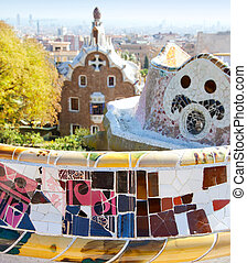 Barcelona park Guell fairy tail mosaic house on entrance