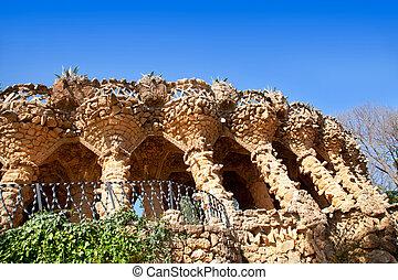 Barcelona Park Guell of Gaudi stone columns