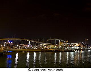 Barcelona port at night