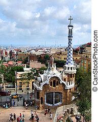 barcelona, punkt orientacyjny, -, park, guell