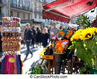 barcelona, ramblas, rua, vida, em, outono