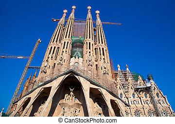 barcelona, sagrada familia catedral, por, gaudi