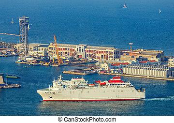 barcelona., seaport., vue
