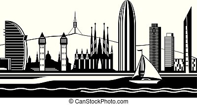 Barcelona sityscape from the sea - vector illustration