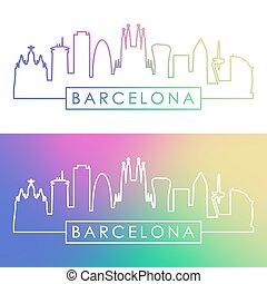 barcelona, skyline., barwny, linearny, style.