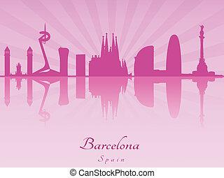 Barcelona skyline in purple radiant orchid in editable...