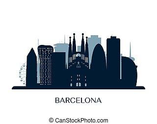 Barcelona skyline, monochrome silhouette.