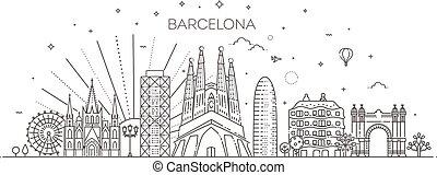 Banner of Barcelona city skyline in flat line trendy style. Barcelona city line art