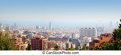 Barcelona skyline with Mediterranean sea view - Barcelona...