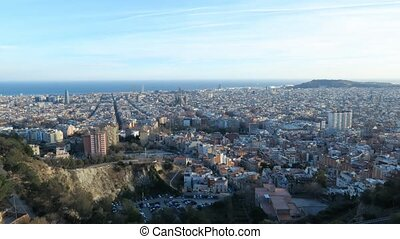 barcelona, skyline, -, zeit- versehen, spa