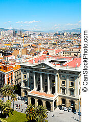 Barcelona, Spain - Aerial view Portal de la Pau Square in La...