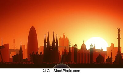 Barcelona Spain Airplane Take Off Skyline Golden Background