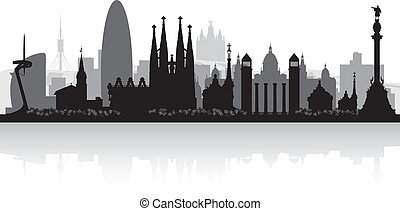 Barcelona Spain city skyline silhouette - Barcelona Spain...