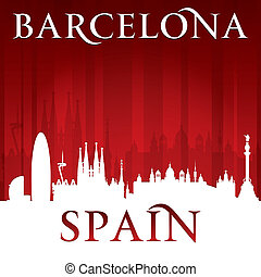 Barcelona Spain city skyline silhouette red background -...