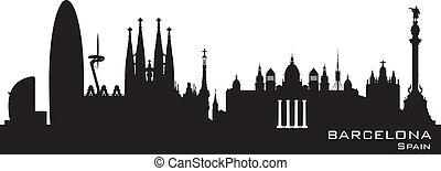 Barcelona Spain city skyline vector silhouette - Barcelona...