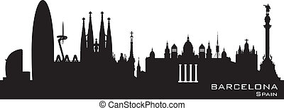 Barcelona Spain city skyline vector silhouette - Barcelona...