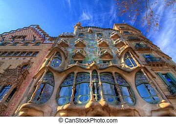 BARCELONA, SPAIN - FEBRUARY 25: Casa Batllo on February 25, 2012 in Barcelona, Spain. The famous building was designed by Antoni Gaudi.