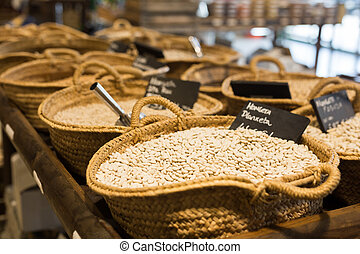 Shop and warehouse for agricultural products. Shelves and boxes with vegetables and nuts