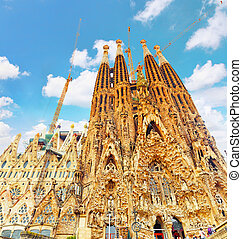 BARCELONA, SPAIN - SEPT 02, 2014: The Basilica of La Sagrada...