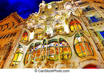 Night outdoor view Gaudi's creation-house Casa Batlo. Barcelona.