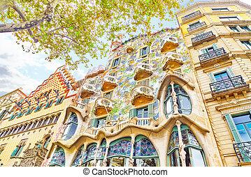 BARCELONA, SPAIN - SEPT 04, 2014: Outdoor view Gaudi's...