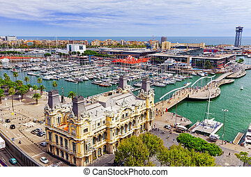 "View of the embankment of Barcelona and the bridge ""Sea Rambla"" i Barcelona, Catallonia, Spain."