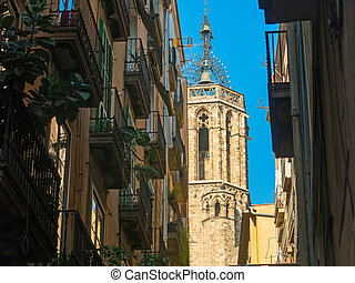 The belfry of the cathedral from the Gothic Quarter in Barcelona, Catalonia, Spain