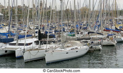 Parked Ships, Boats, Yachts in the Port Vell of Barcelona,...