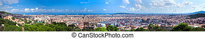 Barcelona, Spain skyline panorama - Barcelona, Spain at...
