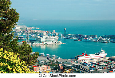 Barcelona. Spain. View of sea and port.