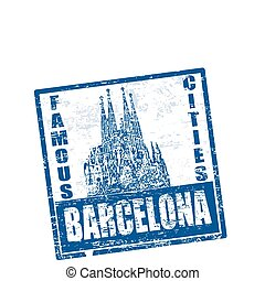 barcelona stamp - Blue grunge rubber stamp with the grand...