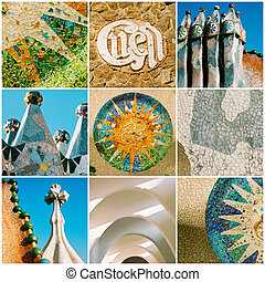 Barcelona travel collage with Antonio Gaudi architectural details.