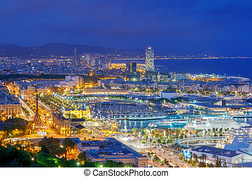 Barcelona. View of the city at night.