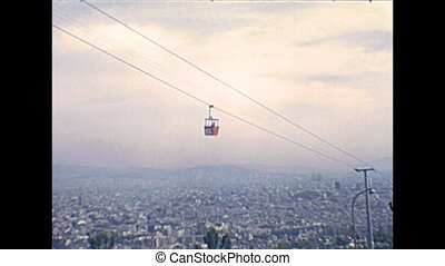Barcelona vintage cableway - cableway moving on top of...