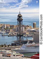 barcelona., vue dessus, seaport., spain.