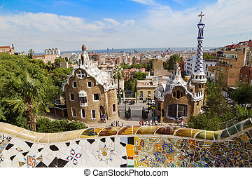 barcelona's, park, guell, ingang, pavilions, in, zonnig, day., spain.