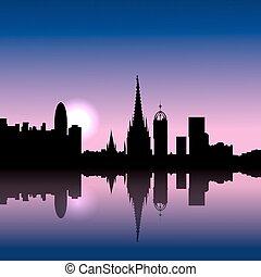 barcelone, horizon, espagne, levers de soleil, illustration