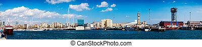 barcelone, port, panorama, vell