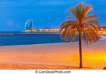 Barceloneta Beach in Barcelona at night, Spain - Barceloneta...