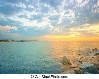 Barceloneta Beach in Barcelona at sunrise