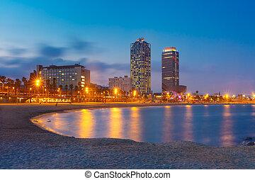 Barceloneta Beach in Barcelona at sunset, Spain
