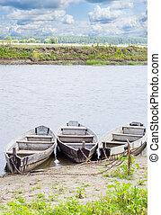 barche, fiume, tre, costa