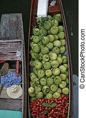 barche, galleggiante, due, mercato