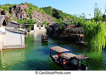 barche, in, acqua, città