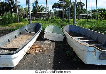 barche, lungo, costa marittima