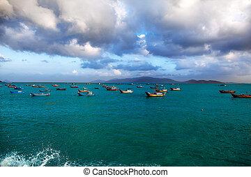 barche, montagne, pesca, fondo, mare